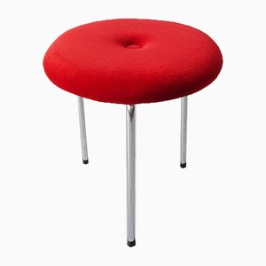 Mid-Century Red Velvet Stool