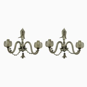 French Cut Glass Sconces, 1920s, Set of 2