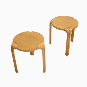 Finnish Fan Leg Stools by Alvar Aalto for Artek, 1960s, Set of 2