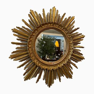 Espejo en forma de sol vintage dorado, 1960