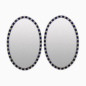 Espejos estilo George III irlandeses vintage de cristal, cobre y cristal. Juego de 2