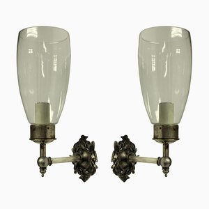 Vintage Single Arm Wall Sconces with Storm Shades, Set of 2