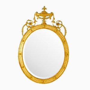 Vergoldeter Ovaler Vintage Spiegel