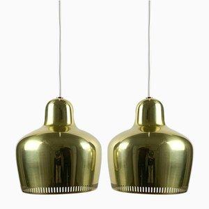 Lampes à Suspension Golden Bell A330 par Alvar Aalto pour Louis Poulsen, 1960s, Set de 2
