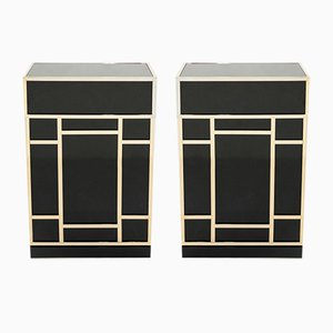 Black Lacquered Brass Bar Cabinets from Maison Jansen 1970s, Set of 2