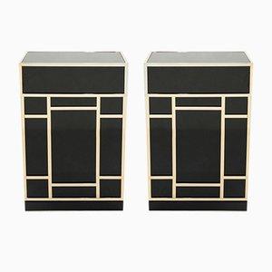 Muebles de bar de latón lacado en negro de Maison Jansen años 70. Juego de 2