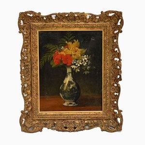 Peinture à l'Huile Nature Morte Antique avec Cadre en Bois Doré