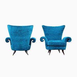 Sillas italianas de terciopelo azul de Melchiorre Bega, años 50. Juego de 2
