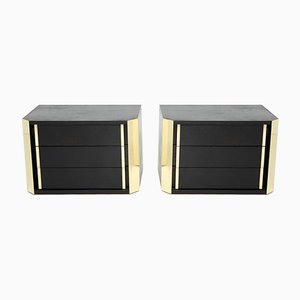 Italian Black Oak and Brass Nightstands,1970s, Set of 2