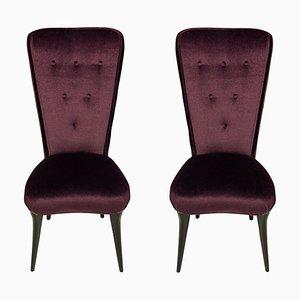 Italienische Lila Mohair Samt Stühle, 1950er, 2er Set