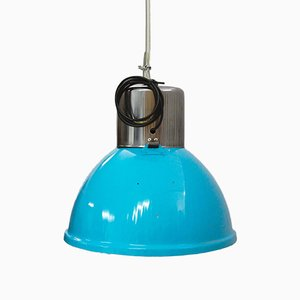 Large Industrial Oval Factory Lamp with Light Blue Lampshade, 1930s
