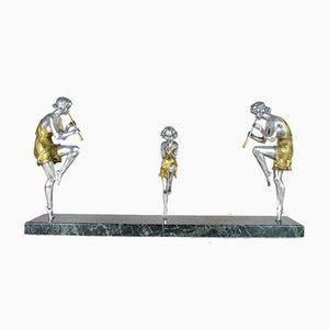 Große Art Deco Figurine Skulptur aus Bronze mit Flötenspielern