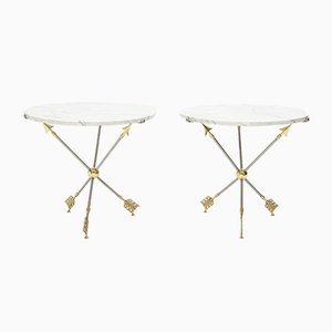 Neoclassical Brass and Marble Pedestal Tables from Maison Jansen, 1970s, Set of 2