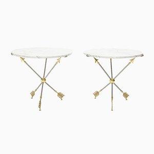Tavolini neoclassici in ottone e marmo di Maison Jansen, anni '70, set di 2