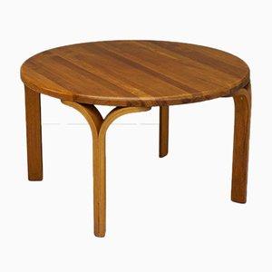 Tavolino da caffè rotondo vintage in pino