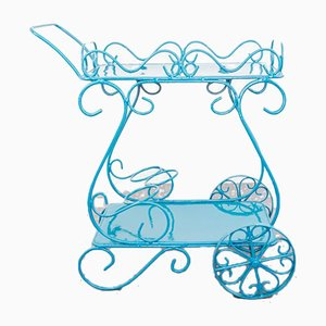 Vintage Tiffany Blue Iron Serving Bar Cart, 1950s