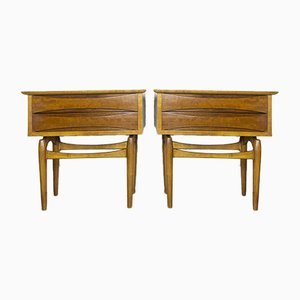 Teak Bedside Tables, 1950s, Set of 2
