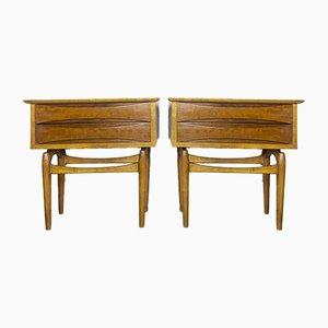Teak Bedside Tables, 1950s, Set of 2