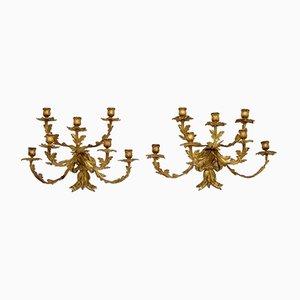 Portacandela da parete antichi in bronzo dorato, set di 2