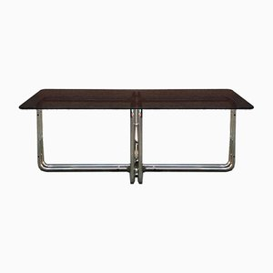 Dining Table with Chromed Tubular Steel Leg & Smoked Glass Top with Rounded Corners, 1970s