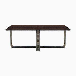 Esstisch mit Gestell aus verchromtem Stahlrohr & Platte aus Rauchglas mit runden Ecken, 1970er