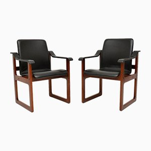 Danish Leather Armchairs from Dyrlund, 1970s, Set of 2