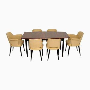 Vintage Stamford Stühle & Esstisch Set aus Leder & Holz von Robin Day für Hille, 7er Set