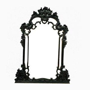 Großer Louis XV Rocaille Lackierter Schwarzer Spiegel, 1900er