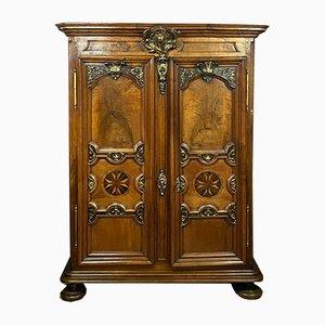 Mueble Louis XIII antiguo de marquetería y nogal, 1700