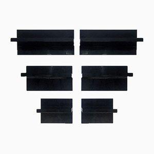 Estantes asimétricos reversibles de plástico negro, años 70. Juego de 6
