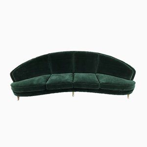 Mid-Century Italian Curved Green Velvet Sofa by Gio Ponti for Isa Bergamo