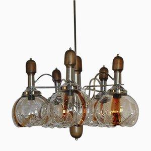 Lámpara de araña con 5 globos de Mazzega, años 70