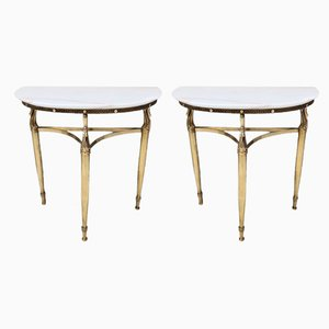 Italian Console Nightstands with Marble Tops & Brass Legs, 1950s, Set of 2
