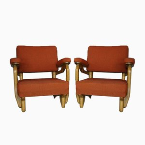 Oak Armchairs by Guilherme and Chambron, 1950s, Set of 2
