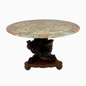 Tavolino con ripiano in onice, inizio XX secolo