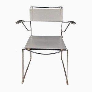 Italienischer Vintage Chrom und Leder Armlehnstuhl