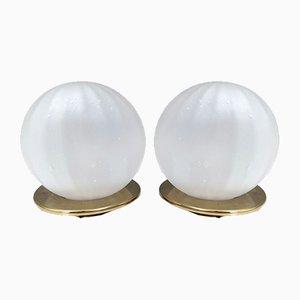Italienische kugelförmige Mundgeblasene Glas Tischlampen im Venini Stil, 1980er, 2er Set