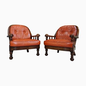 Cognac Leather and Wooden Armchairs, 1960s, Set of 2