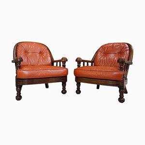 Sessel aus cognacfarbenem Leder & Holz, 1960er, 2er Set