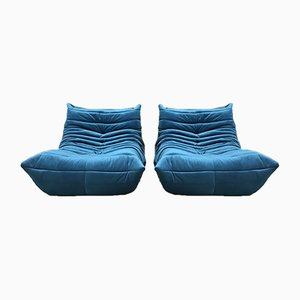 Blue 1-Seater Togo Sofa Modules from Ligne Roset, Set of 2
