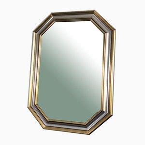 Facettierter Spiegel aus Gold & Silber, 1970er