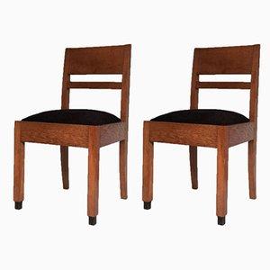 Art Deco Amsterdam School Oak Chairs, 1920s, Set of 2