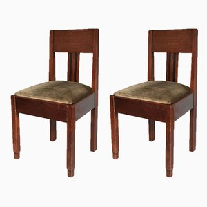 Art Deco Amsterdam School Oak Chairs, 1920s, Set of 2