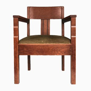 Art Deco Amsterdam School Oak Armchair, 1920s
