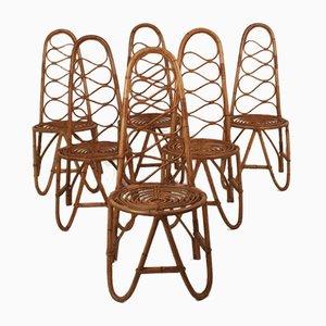 Spanish Bamboo Chairs, 1970s, Set of 6
