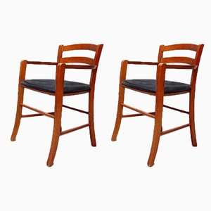 Italian Beech Wood & Leather Model Marocca Chairs by Vico Magistretti for De Padova, 1987, Set of 2