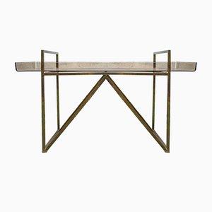 Italian Brass and Plexiglass Coffee Table, 1970s