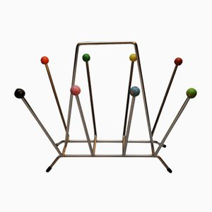 Mid-Century Modern Chrome Sputnik Magazine Rack with Brightly Covered Atomic Balls from Eames, 1960s