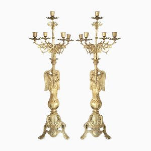 Vergoldeter französischer Kerzenhalter, 1890er, 2er Set