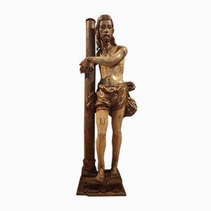 Escultura de Cristo policromada de madera en la cruz